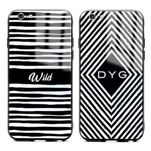 Custom initials iPhone 6/6s Glass phone case with seamless black and white patterns in 2 different designs