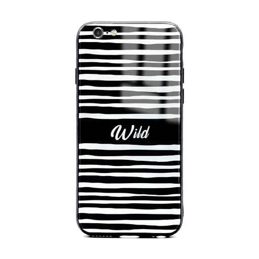 Custom initials iPhone 6/6s Glass phone case with Wild black and white design pattern