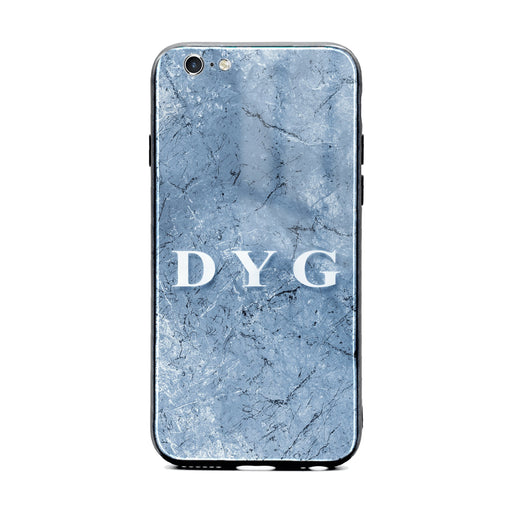 Custom initials iPhone 6/6s Glass phone case Blue cave marble effect
