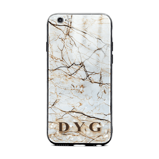 iphone 6/6s glass phone case personalised with initials on a natural brown marble veins effect