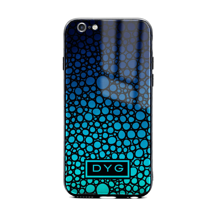 Custom initials iPhone 6/6s Glass phone case printed with bubble hallow blue sea ombre colour theme