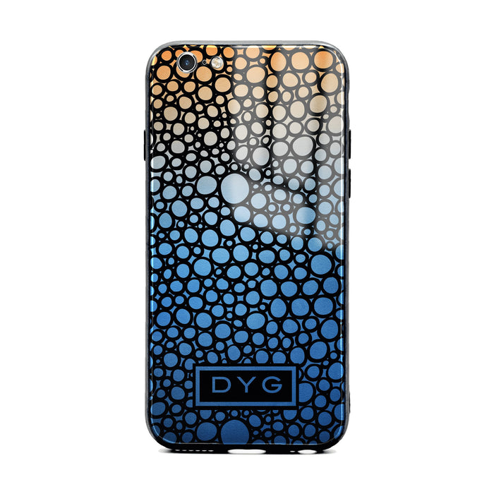 Custom initials iPhone 6/6s Glass phone case printed with bubble hallow blue sky ombre colour theme