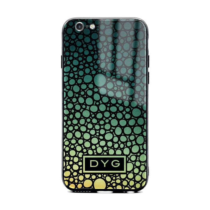 Custom initials iPhone 6/6s Glass phone case printed with bubble hallow green lake ombre colour theme