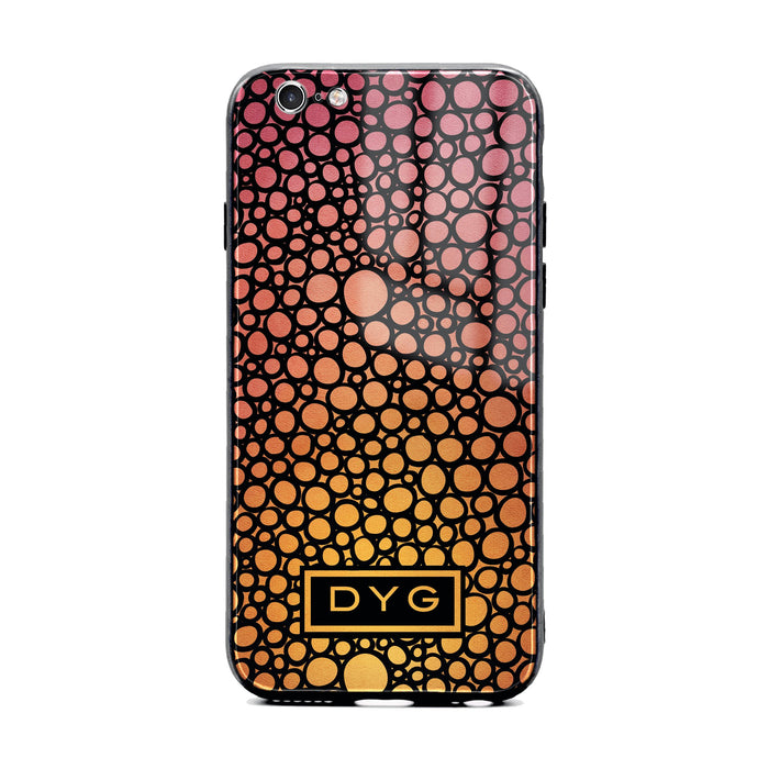Custom initials iPhone 6/6s Glass phone case printed with bubble hallow hot summer ombre colour theme