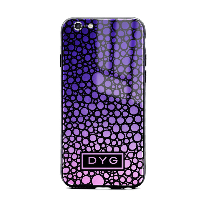 Custom initials iPhone 6/6s Glass phone case printed with bubble hallow purple ombre