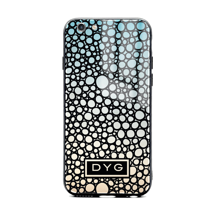 Custom initials iPhone 6/6s Glass phone case printed with bubble hallow sky ombre colour theme