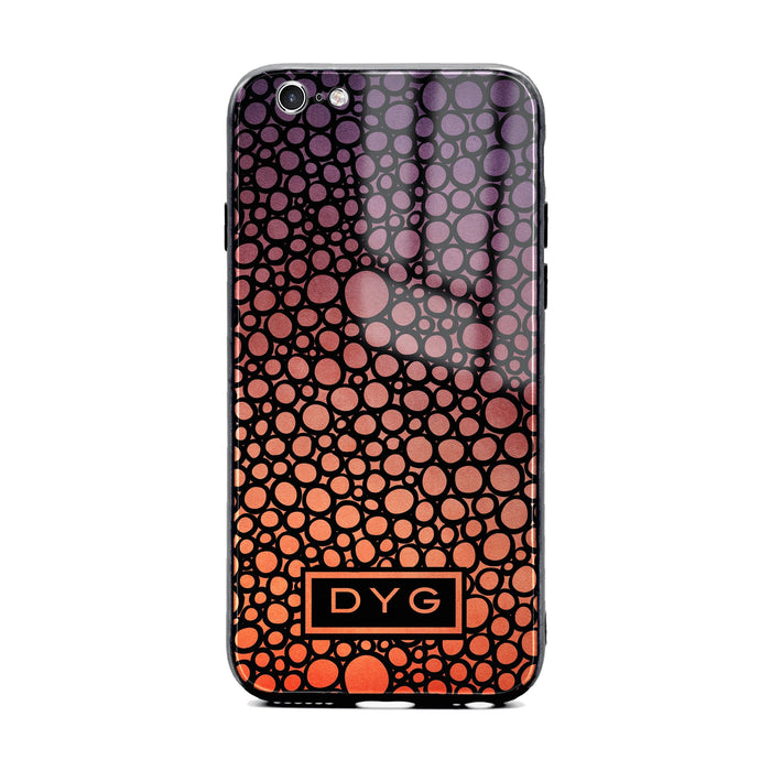 Custom initials iPhone 6/6s Glass phone case printed with bubble hallow sunset ombre colour theme