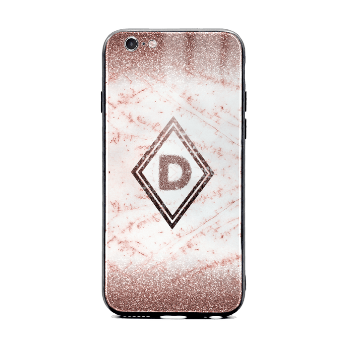 Custom initial iPhone 6/6s Glass phone case with coffee glitter and marble effect and diamond shape