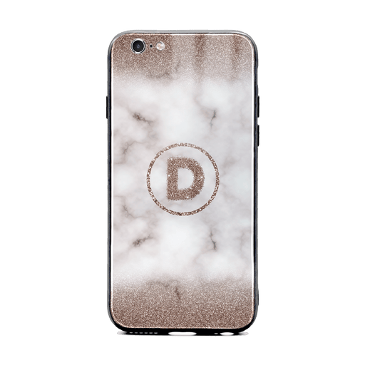 Custom initial iPhone 6/6s Glass phone case with sand glitter and marble effect and round shape