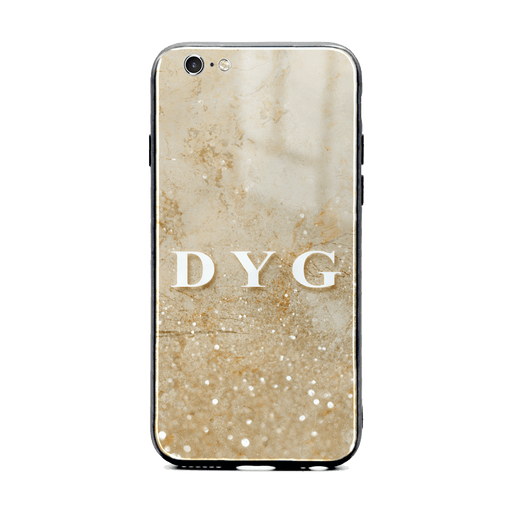 iphone 6/6s glass phone case personalised with initials on a seamless cream sparkling marble