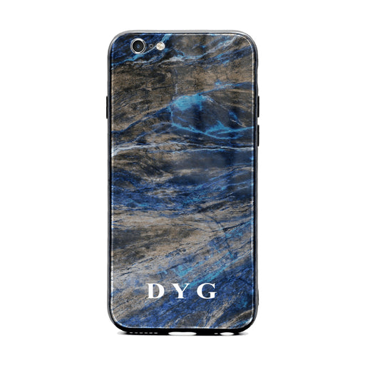 Custom initials iPhone 6/6s Glass phone case Earthy blue marble effect