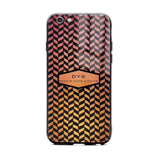 Custom initials iPhone 6/6s Glass phone case printed with hollow geometric pattern hot summer colour theme