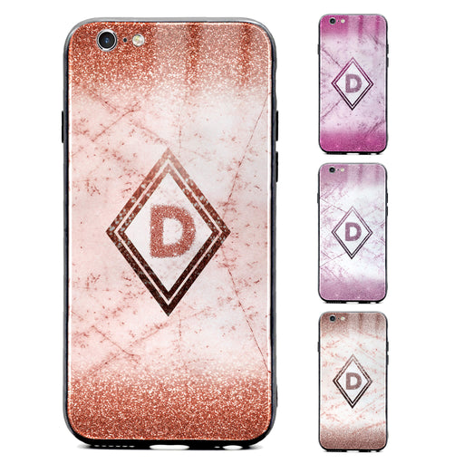 Custom initial iPhone 6/6s Glass phone case with glitter and marble effect and diamond shape available in 4 colours