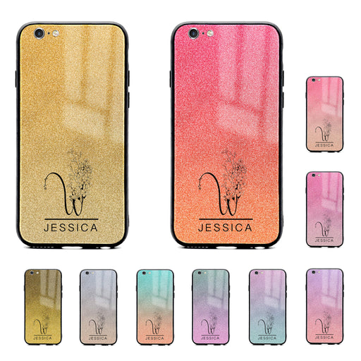 iphone 6/6s glass phone case personalised with floral initial and name printer on seamless glitter ombre available in 10 colours