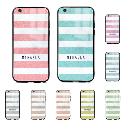 iphone 6/6s glass phone case customised with name on glitter stripes design available in 9 colours