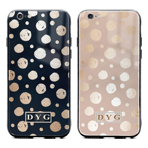 iphone 6/6s glass phone case personalised with initials on a glossy dots design pattern available in 2 colours