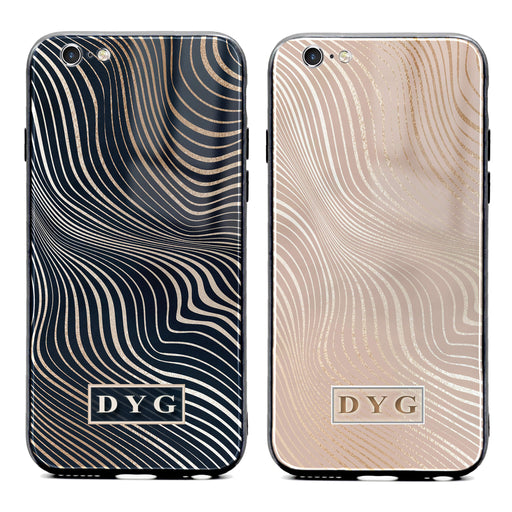 iphone 6/6s glass phone case personalised with initials on a glossy waves pattern available in 2 colours