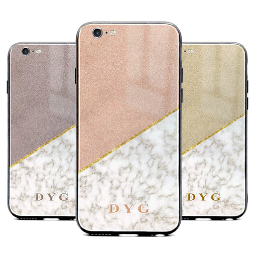 iphone 6/6s glass phone case personalised with initials on gold marble and glitter design available in 3 glitter colours