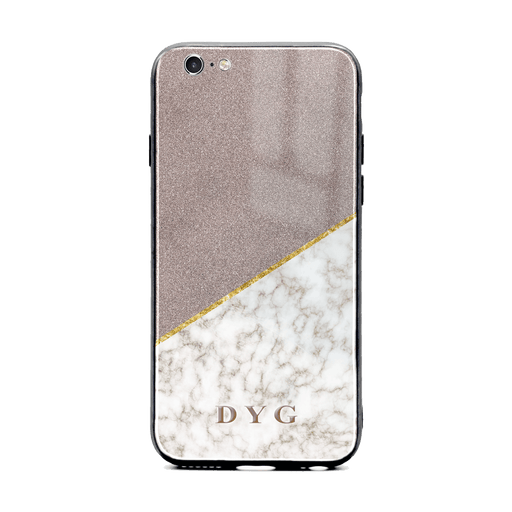 iphone 6/6s glass phone case personalised with initials on gold marble and purple glitter design