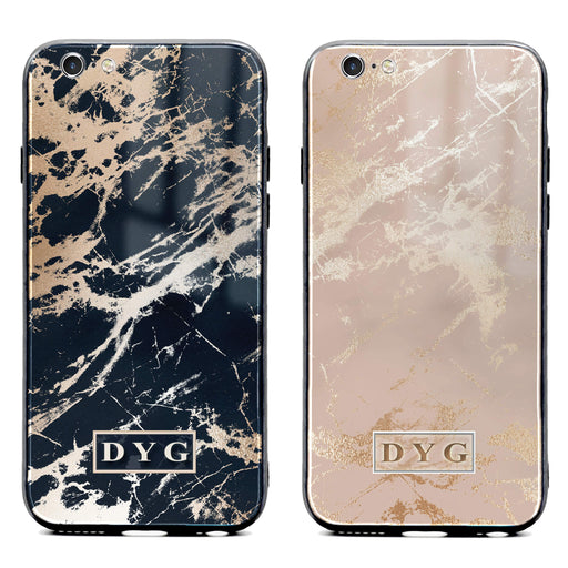 iphone 6/6s glass phone case personalised with initials on glossy marble available in black and champagne