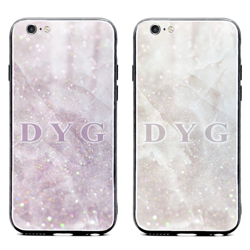 iphone 6/6s glass phone case personalised with initials on luxury sparkle marble effect available in 2 colours