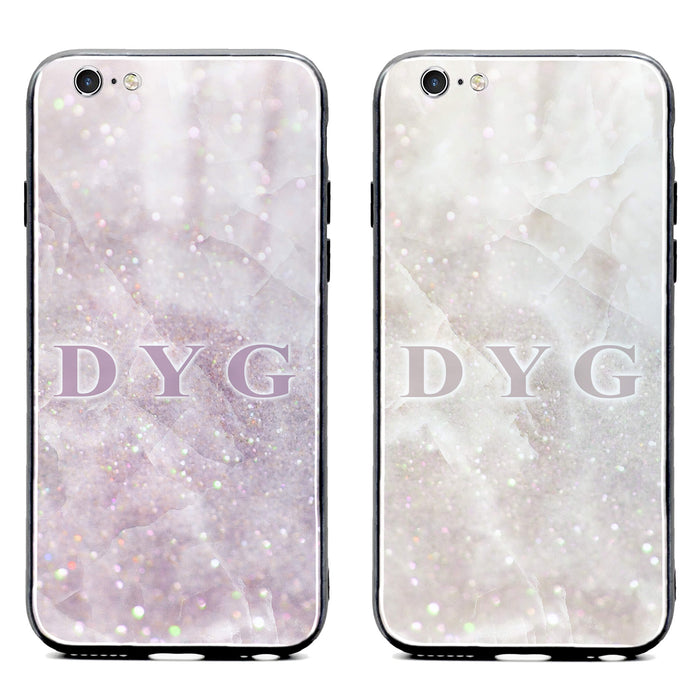 Luxury Sparkle Marble with Initials - iPhone 6/6s Glass Phone Case design-your-gift.