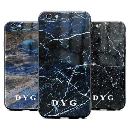 Custom initials iPhone 6/6s Glass phone case printed with dark marble effects available in 3 colours
