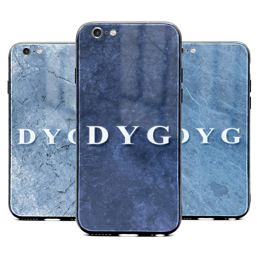 Custom initials iPhone 6/6s Glass phone case printed with blue marble effects available in 3 colours