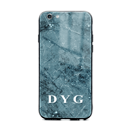 iphone 6/6s glass phone case personalised with initials on blue sparkle marble
