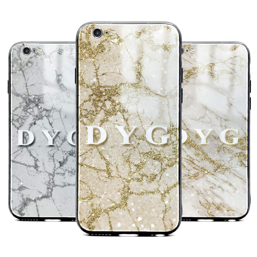 iphone 6/6s glass phone case personalised with initials on sparkling pearl marble available in 3 colours