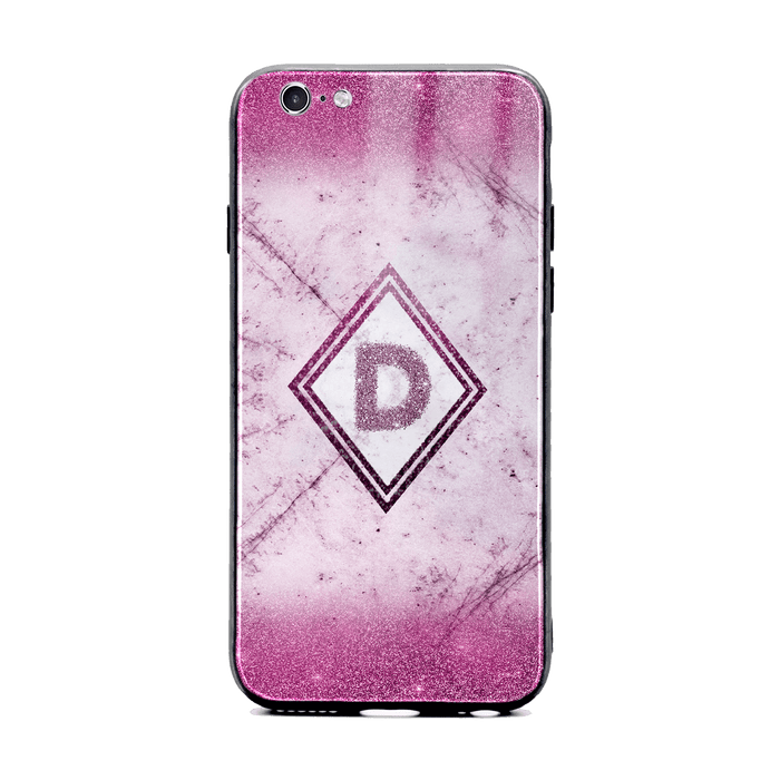 Custom initial iPhone 6/6s Glass phone case with Pink glitter and marble effect and diamond shape