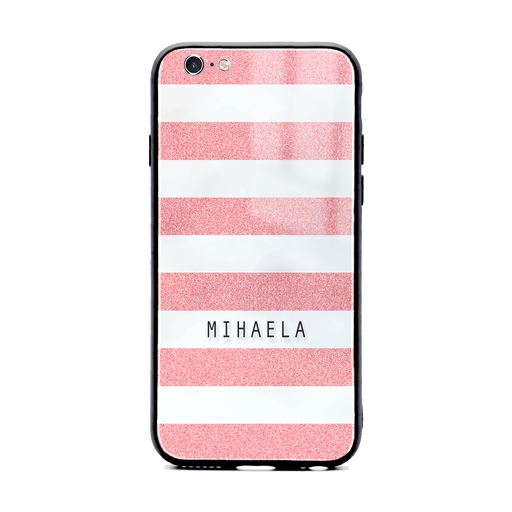 iphone 6/6s glass phone case customised with name on pink glitter stripes