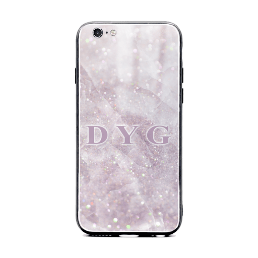 iphone 6/6s glass phone case personalised with initials on luxury sparkle pink marble effect