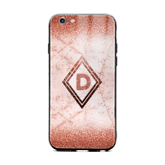 Custom initial iPhone 6/6s Glass phone case with rose gold glitter and marble effect and diamond shape