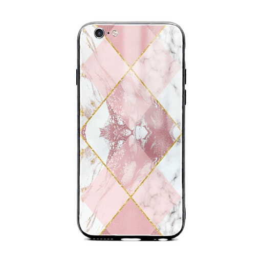iphone 6/6s glass phone case printed with seamless white and rose marble patterns design 1