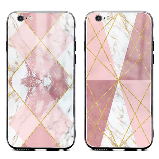 iphone 6/6s glass phone case printed with seamless white and rose marble patterns available in 2 design variants