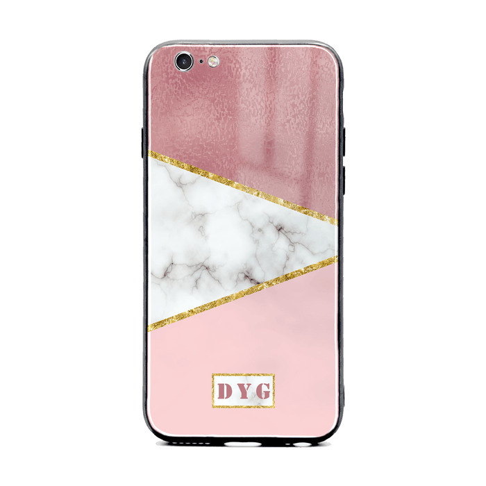 White & Rose Marble with Initials - iPhone 6/6s Glass Phone Case design-your-gift.
