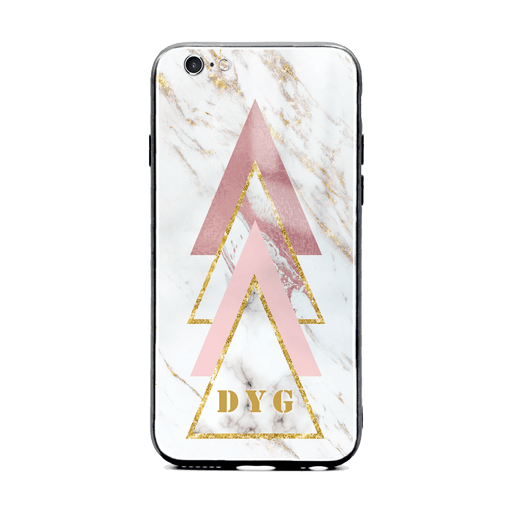 iphone 6/6s glass phone cases personalised with initials on white and rose marble pattern 1