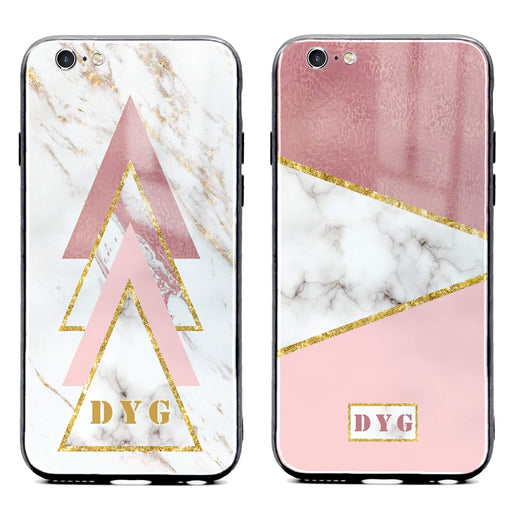 iphone 6/6s glass phone cases personalised with initials on white and rose marble patterns available in 2 design variants