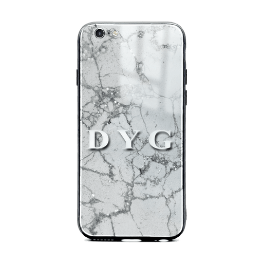 iphone 6/6s glass phone case personalised with initials on sparkling silver pearl marble