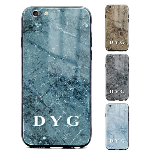 iphone 6/6s glass phone case personalised with initials on colourful sparkle marble available in 4 colours
