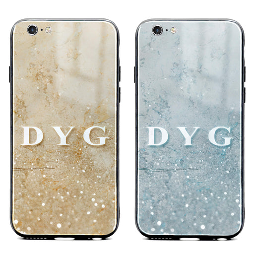 iphone 6/6s glass phone case personalised with initials on a seamless sparkling marble available in 2 colours