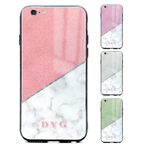 iphone 6/6s glass phone case personalised with initials on white marble and glitter available in 4 colours
