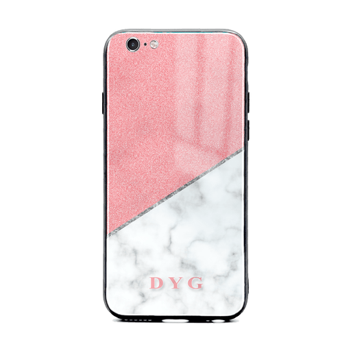 iphone 6/6s glass phone case personalised with initials on white marble and pink glitter