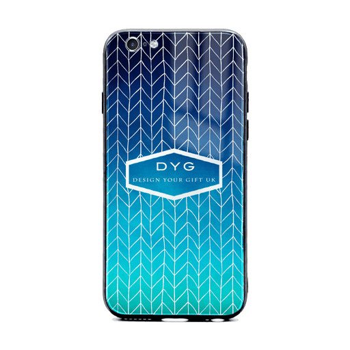 Custom initials iPhone 6/6s Glass phone case printed with hollow zigzag pattern blue sea colour theme