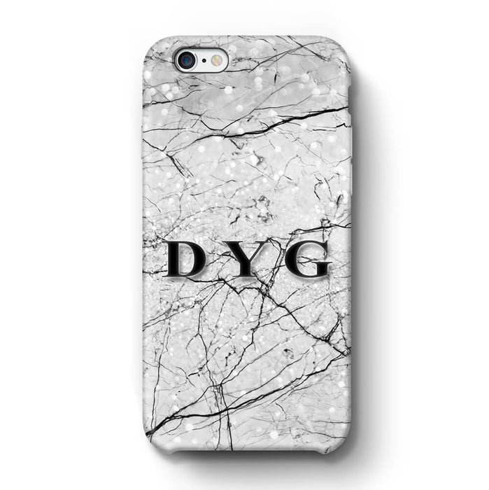 Marble Veins With Initials iPhone 6 Plus 3D Personalised Phone Case black