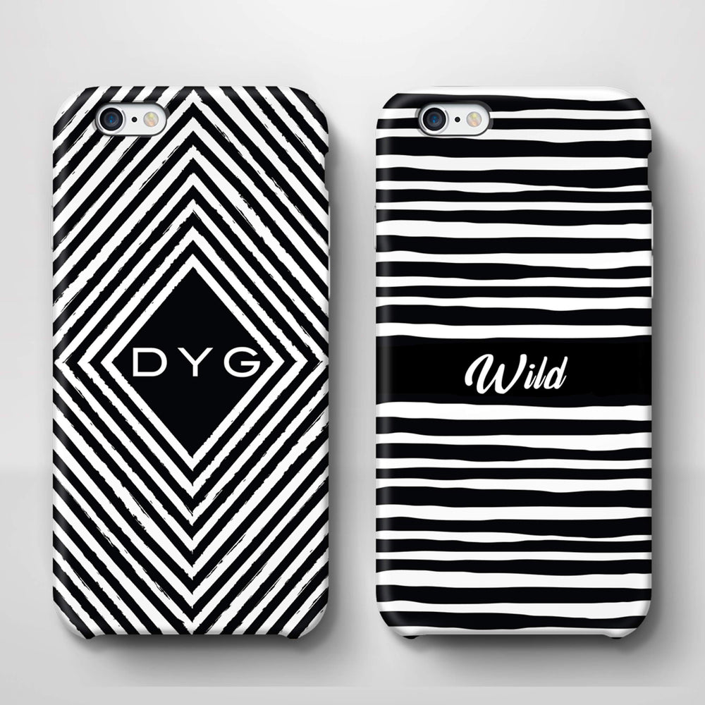 Black & White Patterns with Initial iPhone 6 Plus 3D Custom Phone Case variants