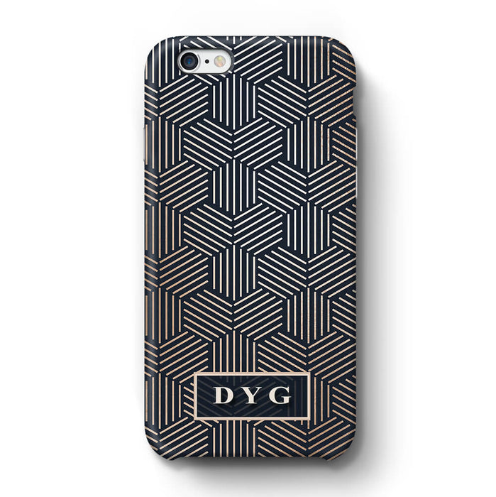 Glossy Geometric Pattern With Initials iPhone 6 Plus 3D Phone Case Black