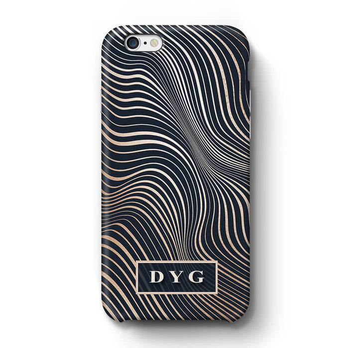 Glossy Waves With Initials iPhone X6+ 3D Custom Phone Case black