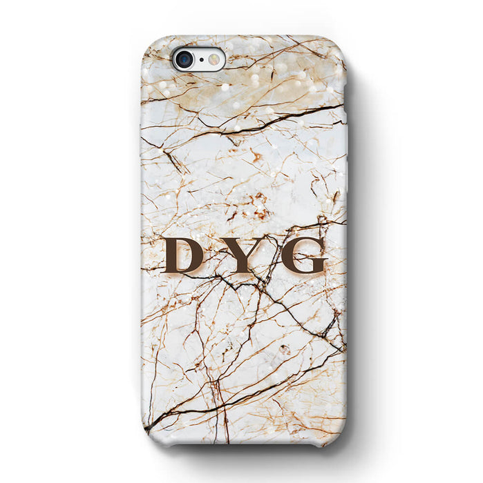 Marble Veins With Initials iPhone 6 Plus 3D Personalised Phone Case brown